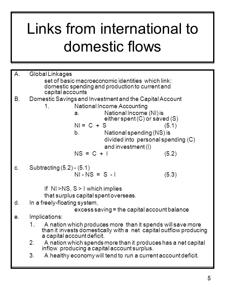 Links from international to domestic flows