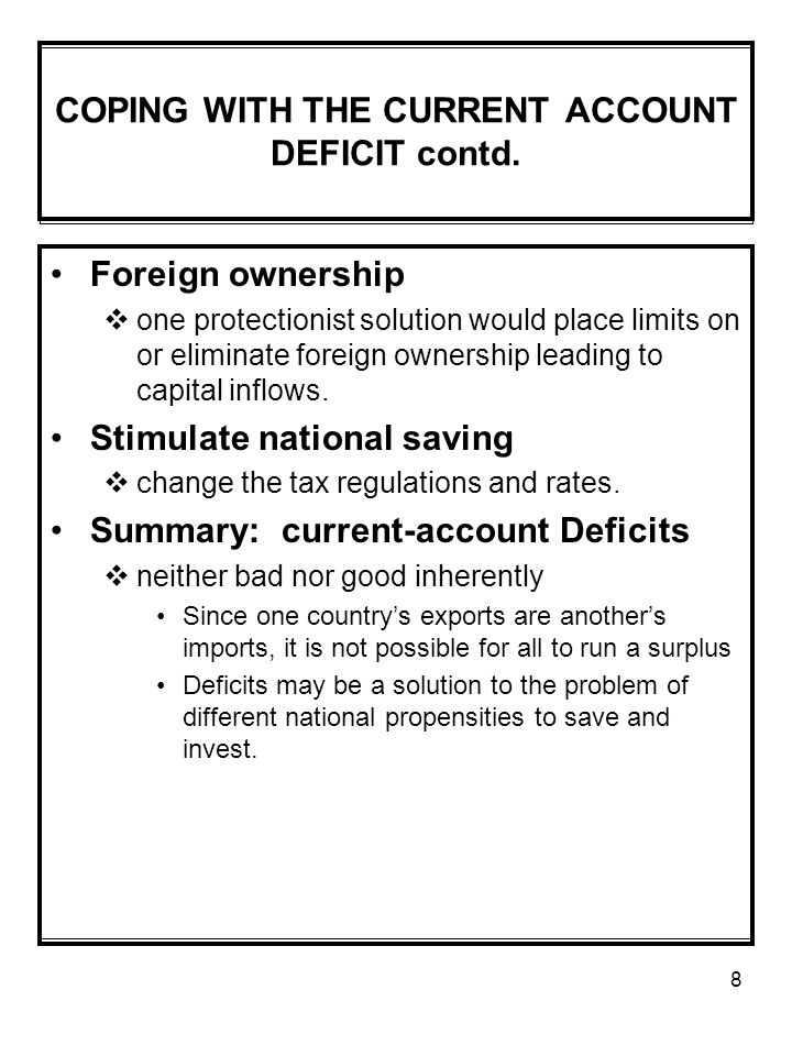 COPING WITH THE CURRENT ACCOUNT DEFICIT contd.