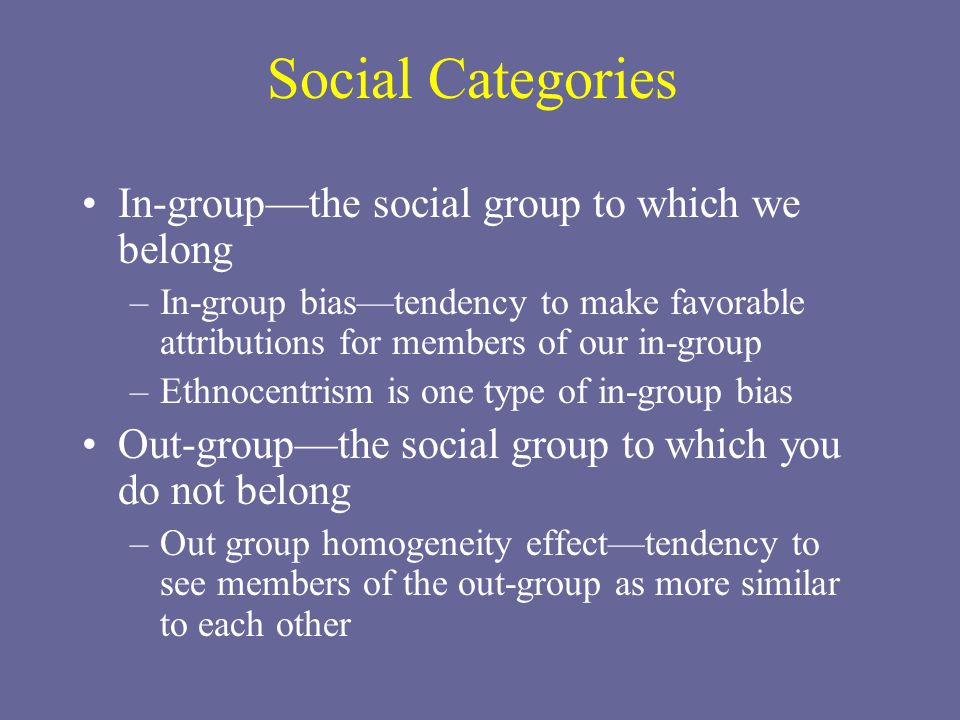 Social Categories In-group—the social group to which we belong