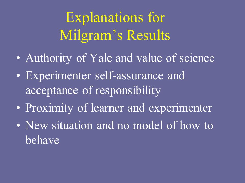 Explanations for Milgram's Results