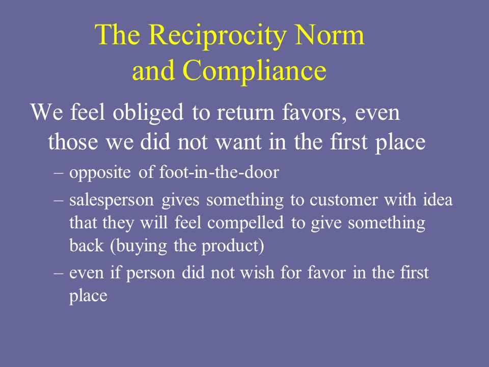 The Reciprocity Norm and Compliance