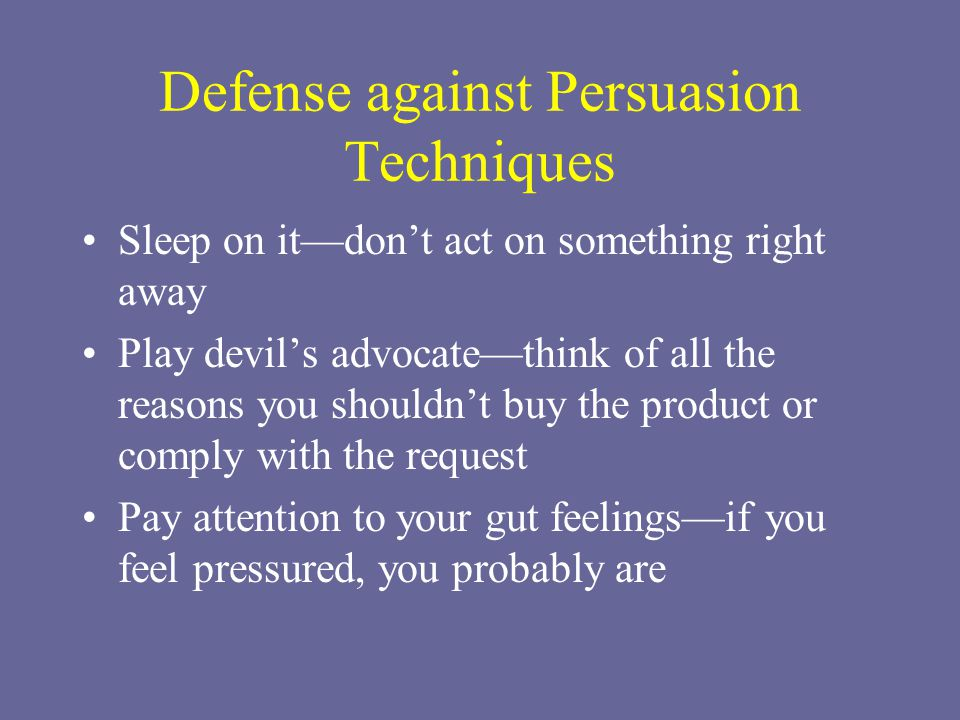 Defense against Persuasion Techniques