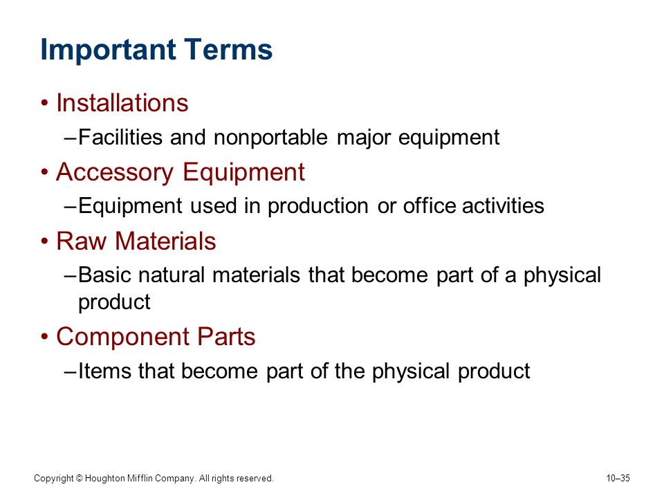 Important Terms Installations Accessory Equipment Raw Materials