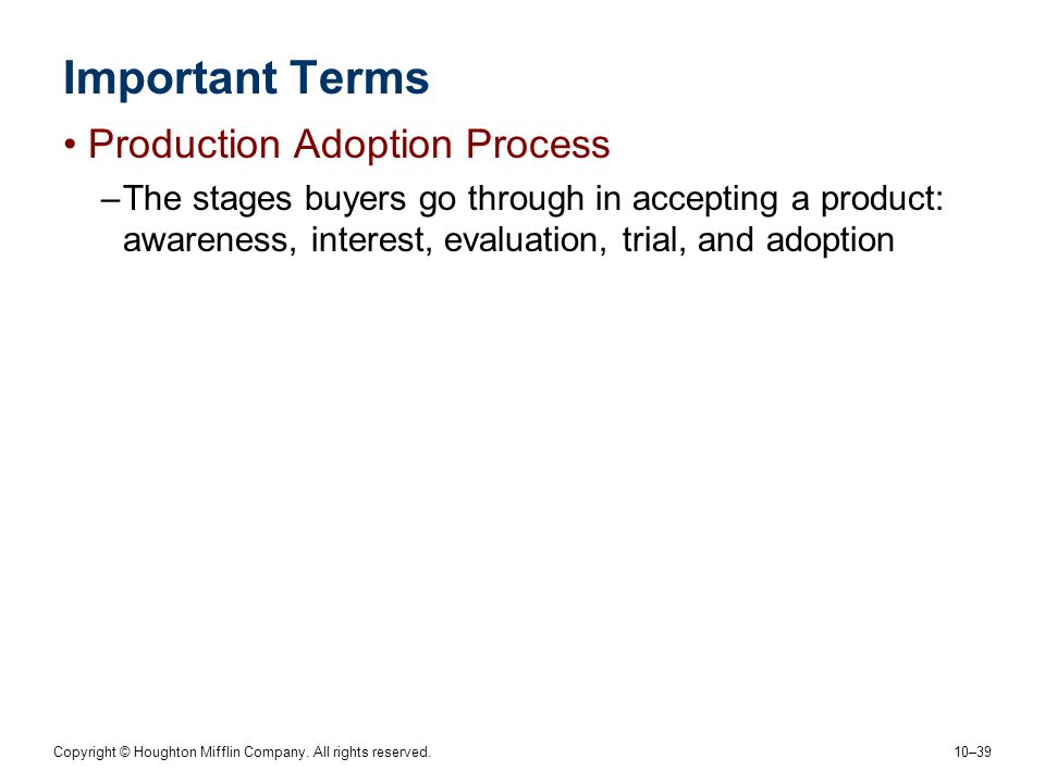 Important Terms Production Adoption Process