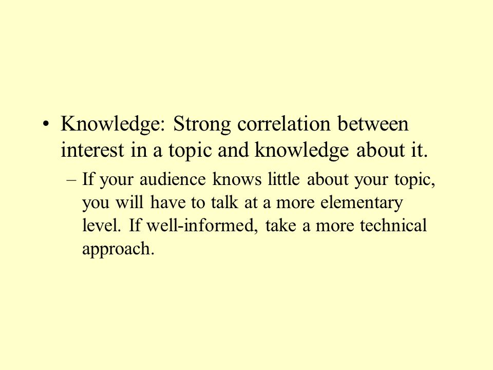 Knowledge: Strong correlation between interest in a topic and knowledge about it.