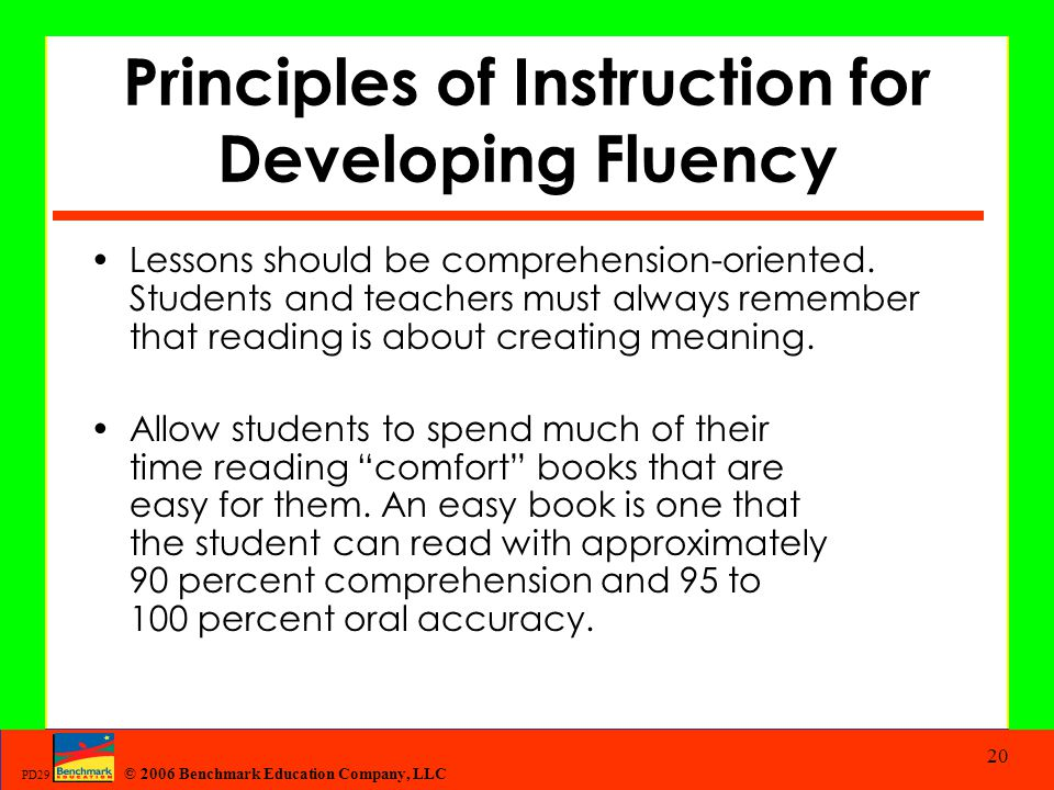 Principles of Instruction for Developing Fluency