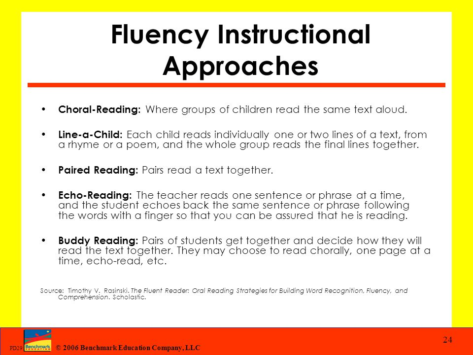 Fluency Instructional Approaches