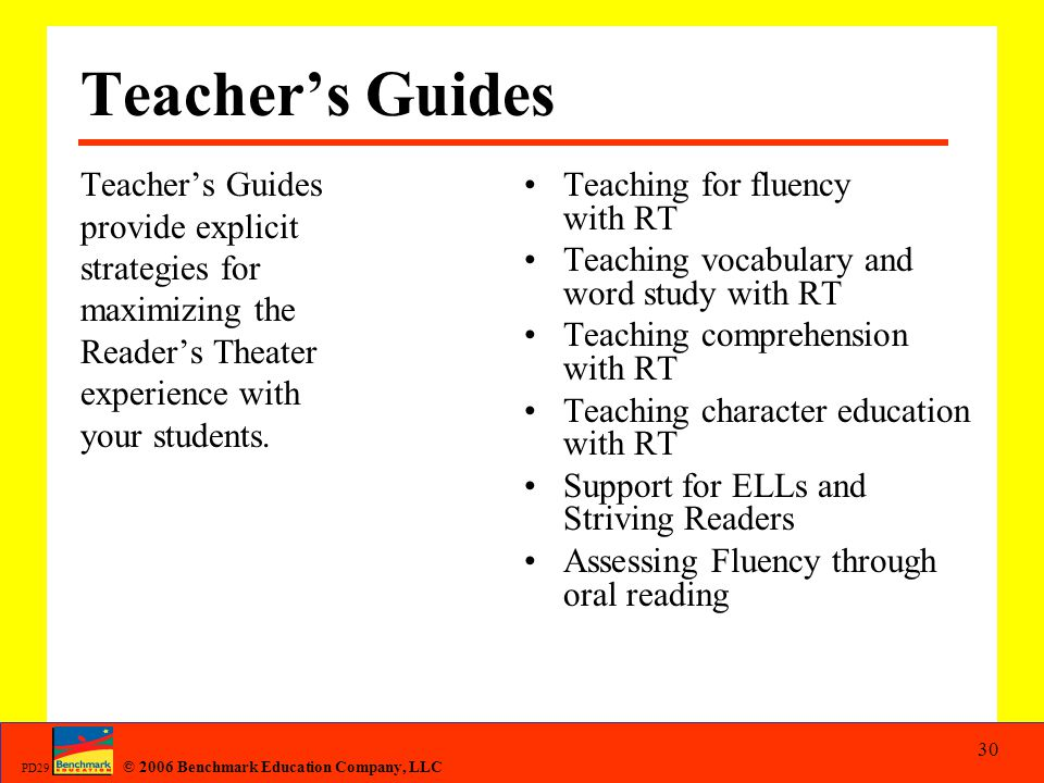 Teacher's Guides Teacher's Guides provide explicit strategies for