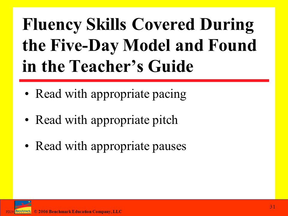 Fluency Skills Covered During the Five-Day Model and Found in the Teacher's Guide