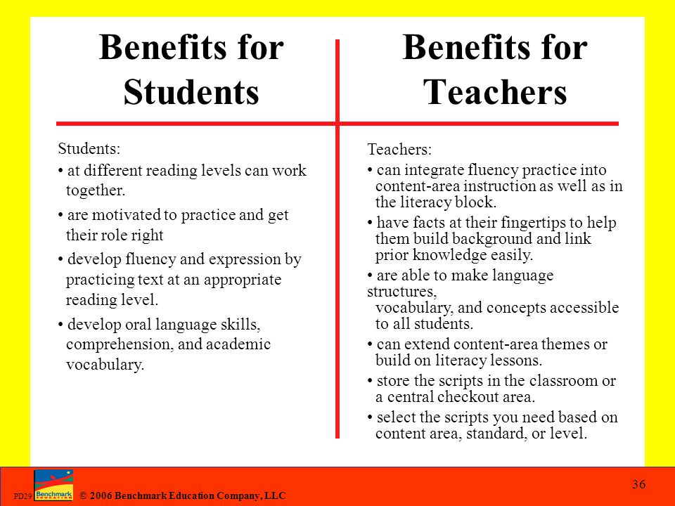 Benefits for Students Benefits for Teachers