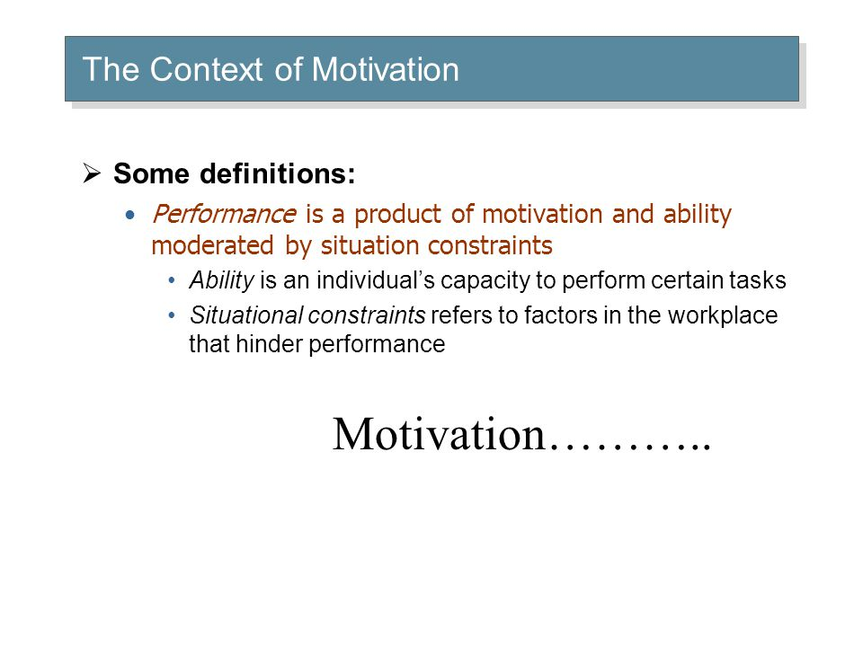 motivation in the workplace and elements The two-factor theory states that there are certain factors in the workplace that  cause job  motivation factors are needed to motivate an employee to higher.