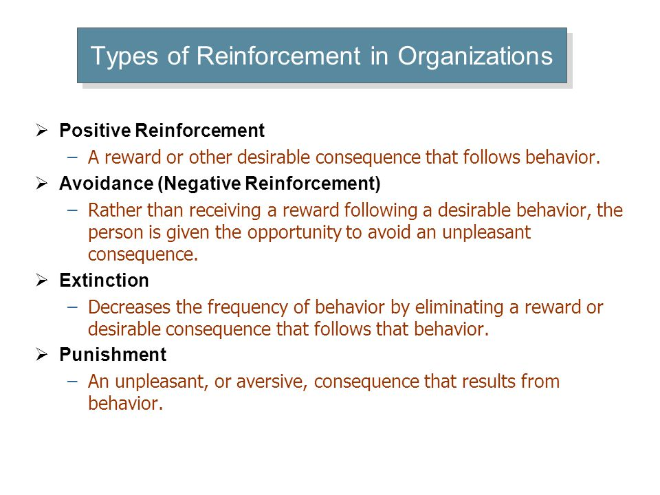Types of Reinforcement – Examples of Use