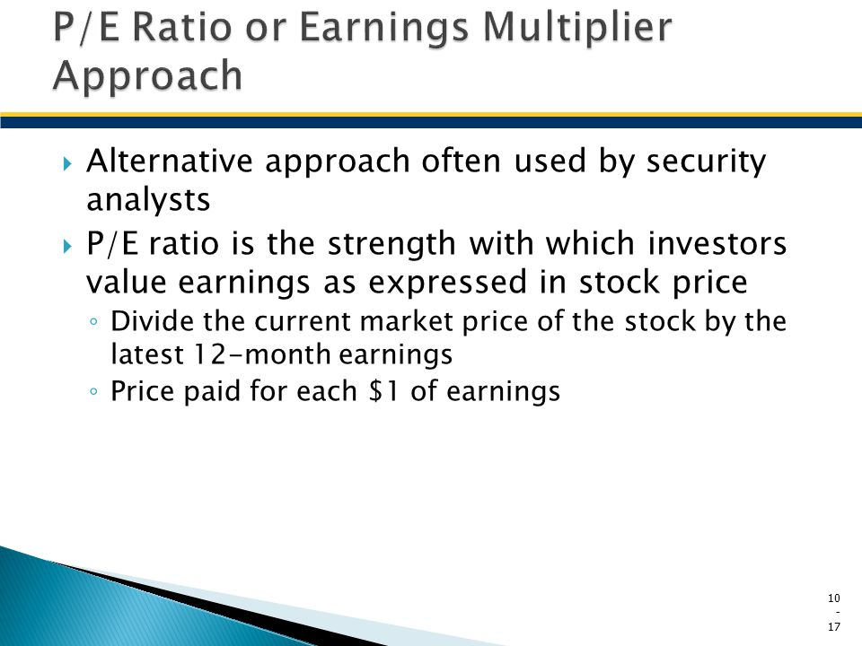 P/E Ratio or Earnings Multiplier Approach