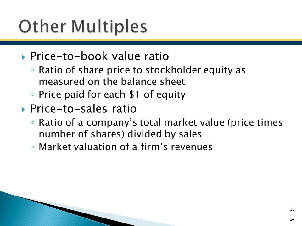 Other Multiples Price-to-book value ratio Price-to-sales ratio