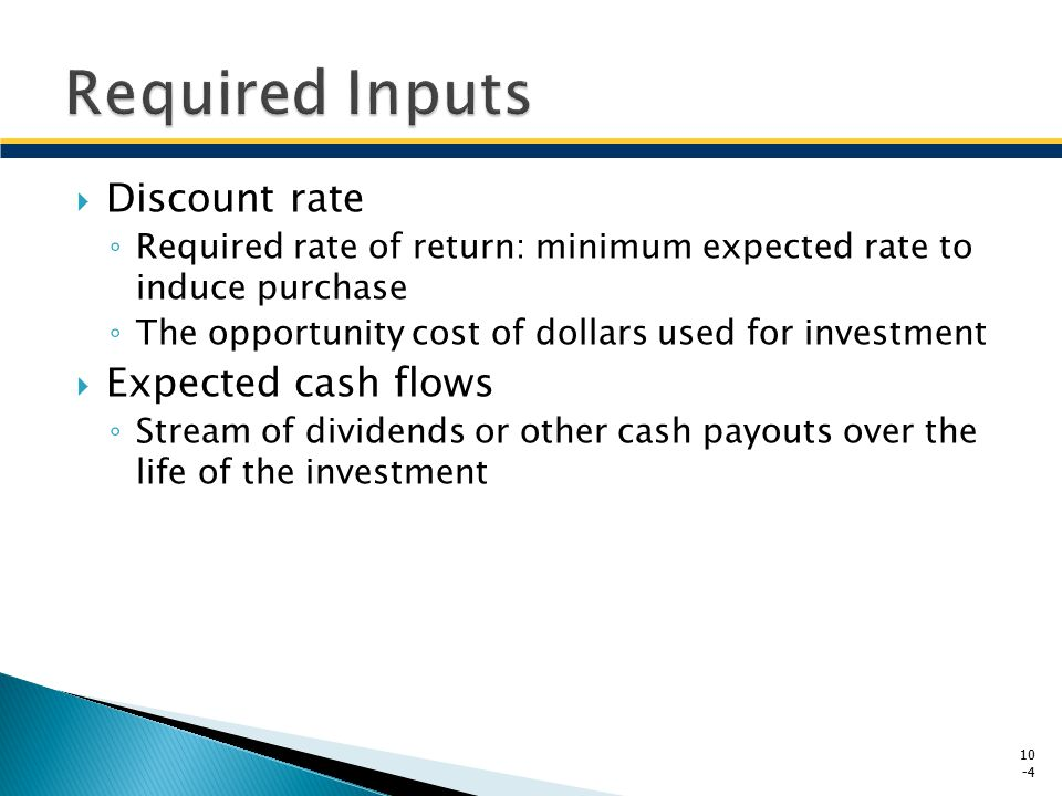 Required Inputs Discount rate Expected cash flows