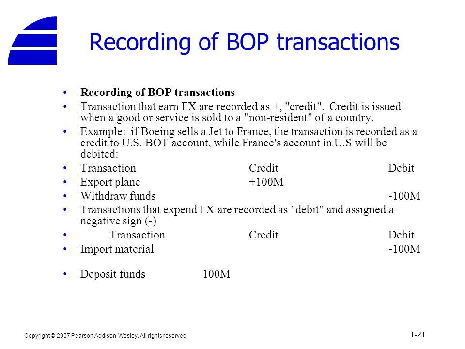 Recording of BOP transactions