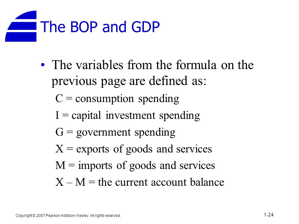 The BOP and GDP The variables from the formula on the previous page are defined as: C = consumption spending.