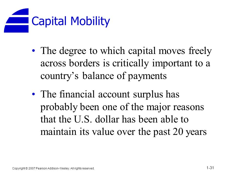 Capital Mobility The degree to which capital moves freely across borders is critically important to a country's balance of payments.