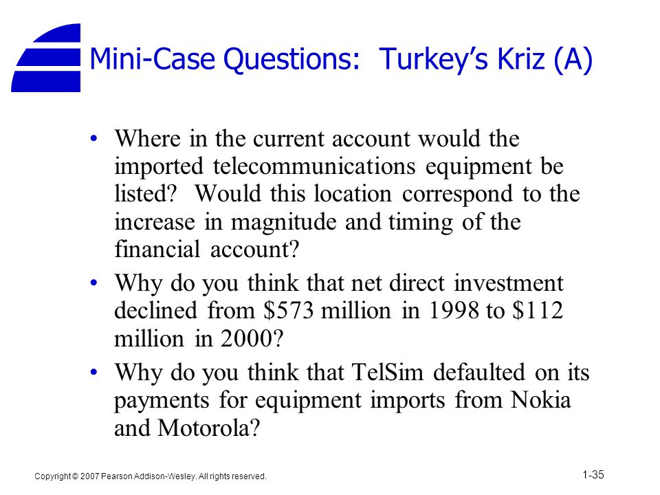 Mini-Case Questions: Turkey's Kriz (A)