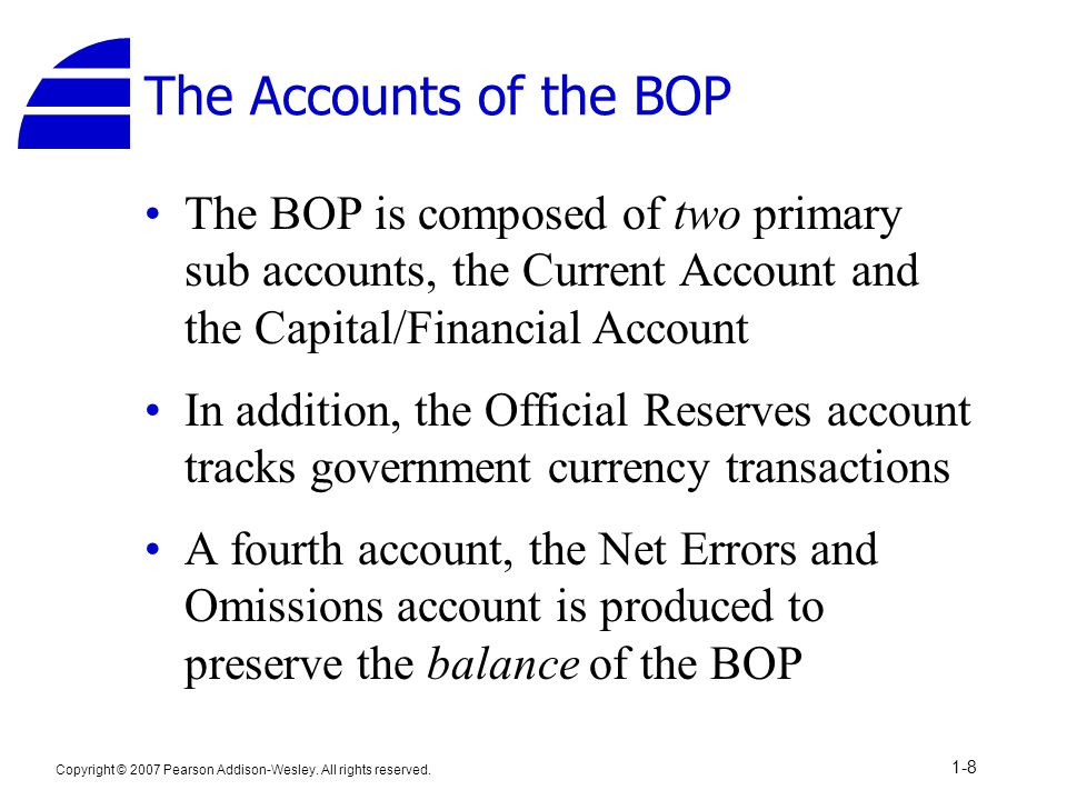 The Accounts of the BOP The BOP is composed of two primary sub accounts, the Current Account and the Capital/Financial Account.