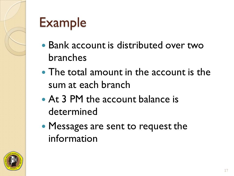 Example Bank account is distributed over two branches