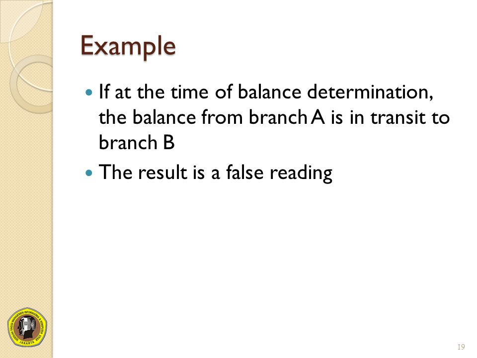 Example If at the time of balance determination, the balance from branch A is in transit to branch B.