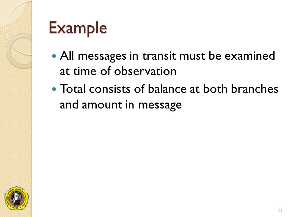 Example All messages in transit must be examined at time of observation.