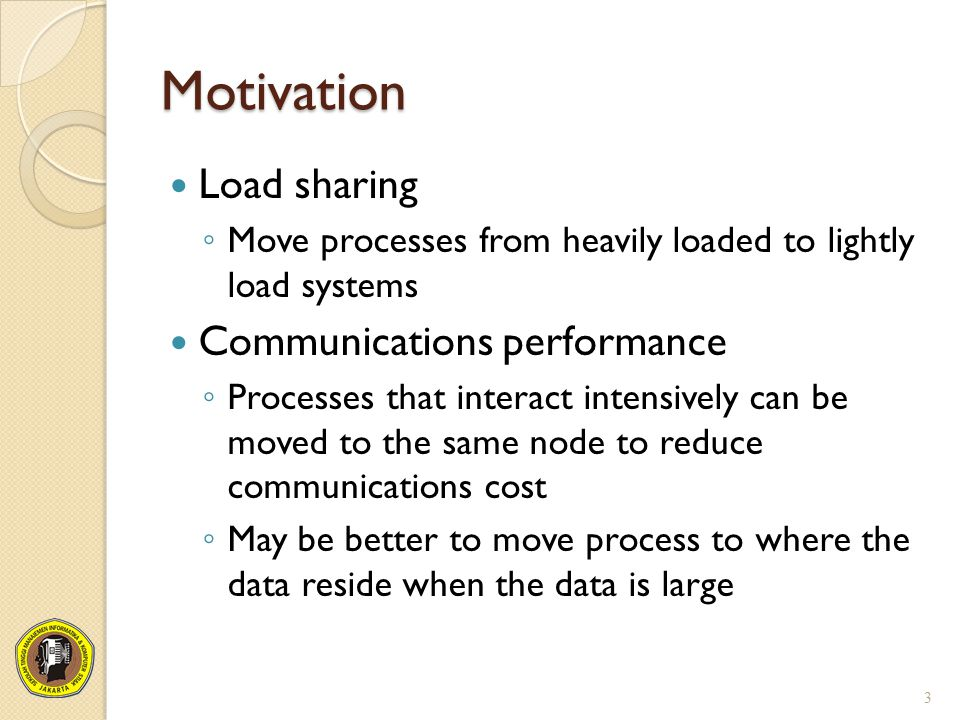 Motivation Load sharing Communications performance