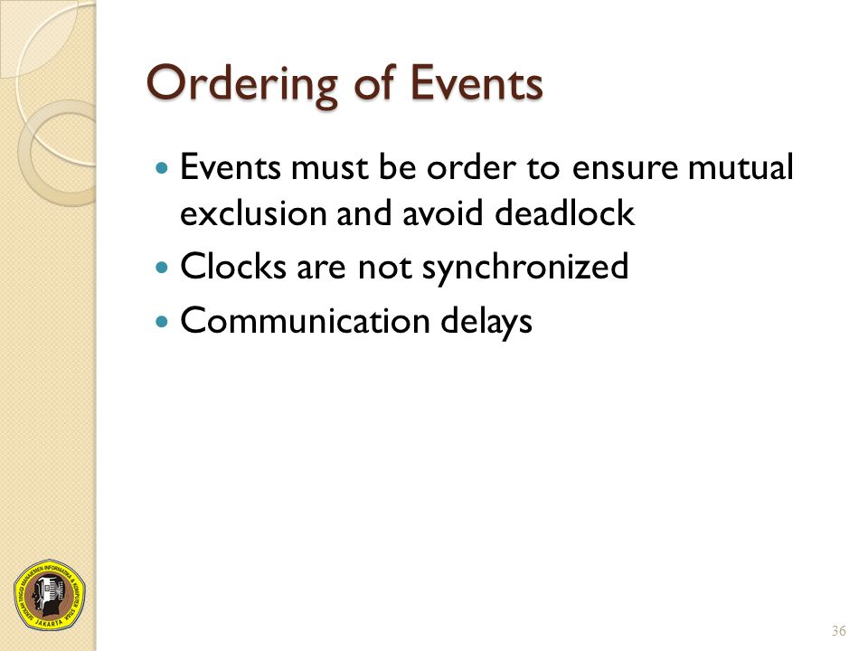 Ordering of Events Events must be order to ensure mutual exclusion and avoid deadlock. Clocks are not synchronized.