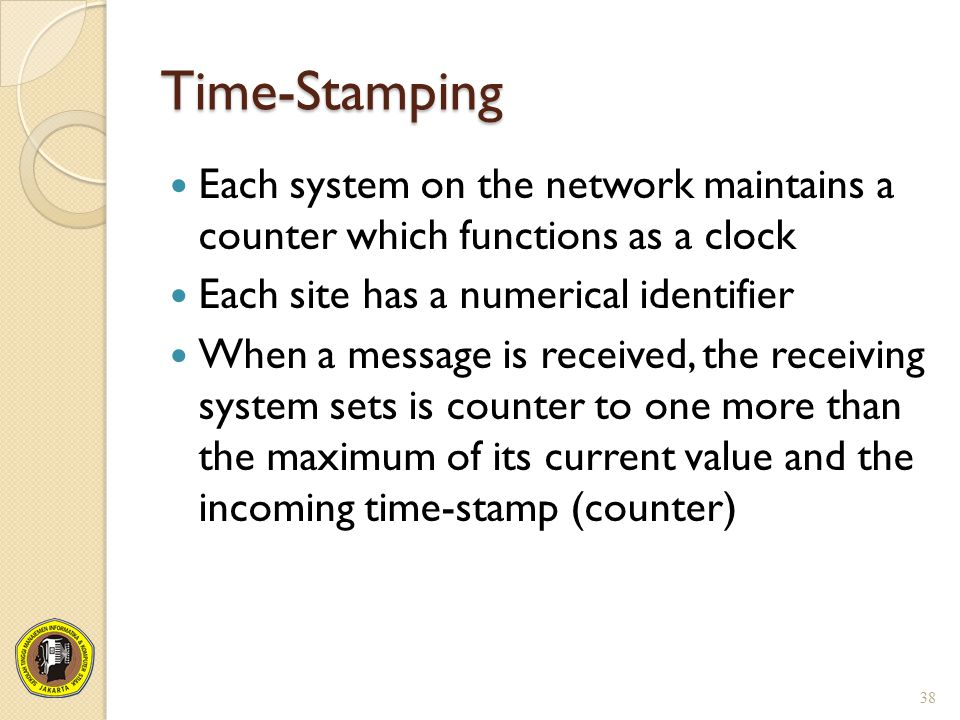 Time-Stamping Each system on the network maintains a counter which functions as a clock. Each site has a numerical identifier.
