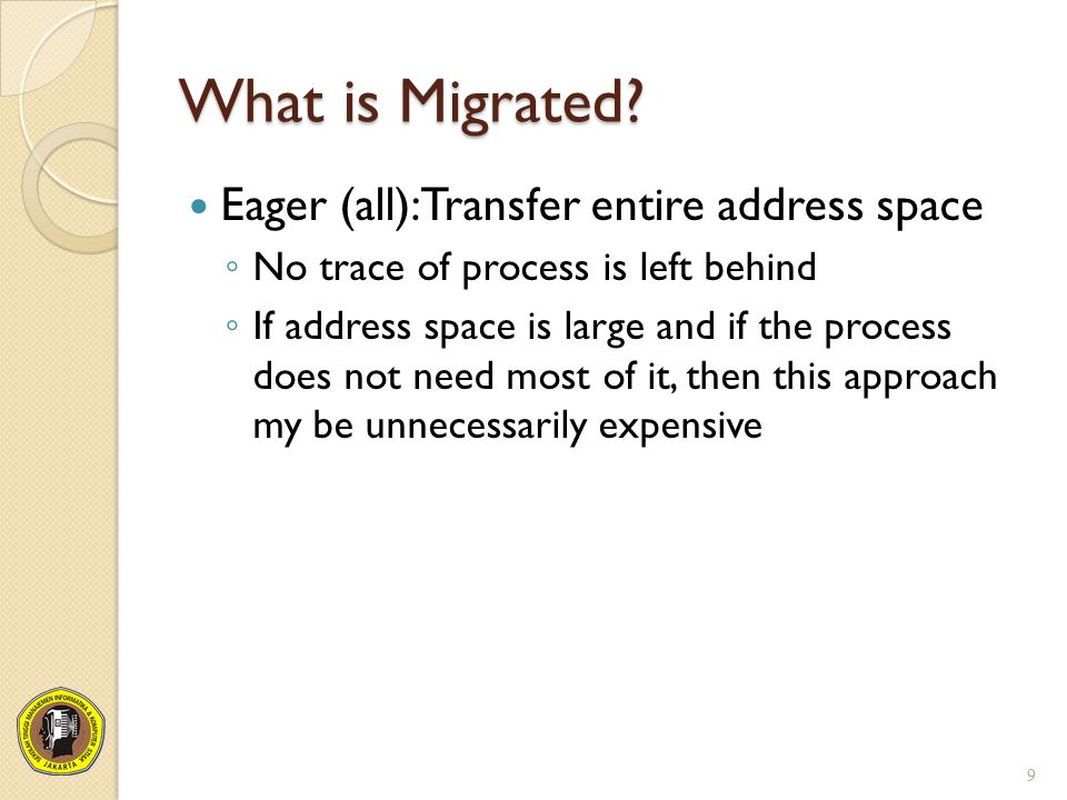 What is Migrated Eager (all):Transfer entire address space