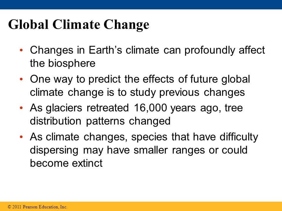 Global Climate Change Changes in Earth's climate can profoundly affect the biosphere.