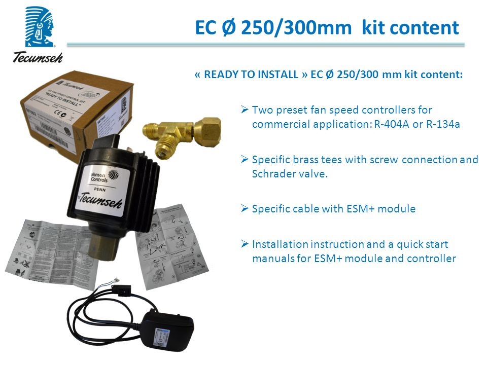EC Ø 250/300mm kit content « READY TO INSTALL » EC Ø 250/300 mm kit content: