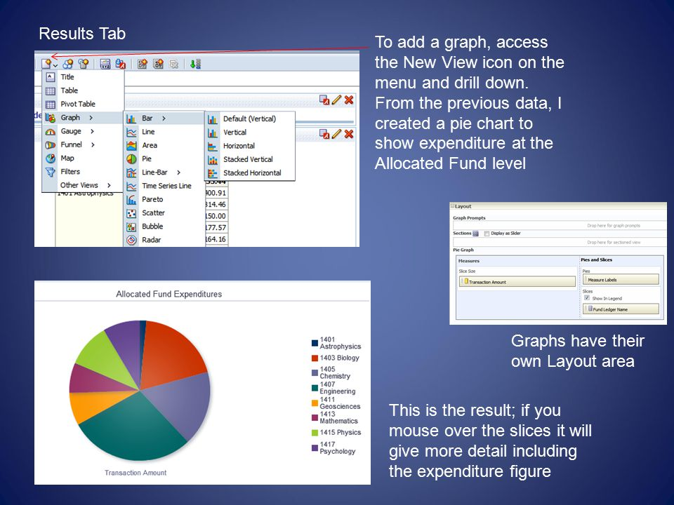 Results Tab To add a graph, access the New View icon on the menu and drill down.