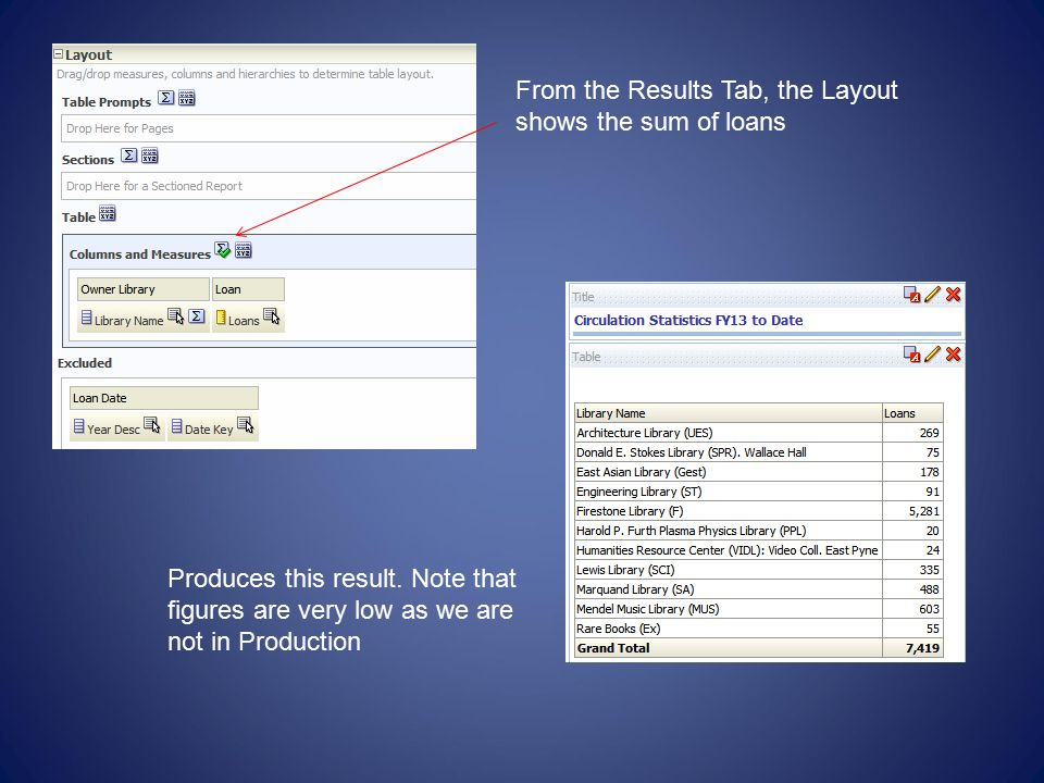 From the Results Tab, the Layout shows the sum of loans