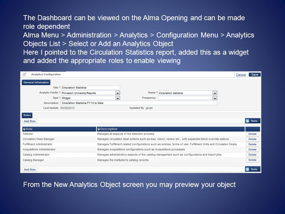 The Dashboard can be viewed on the Alma Opening and can be made role dependent