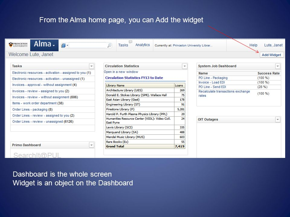 From the Alma home page, you can Add the widget