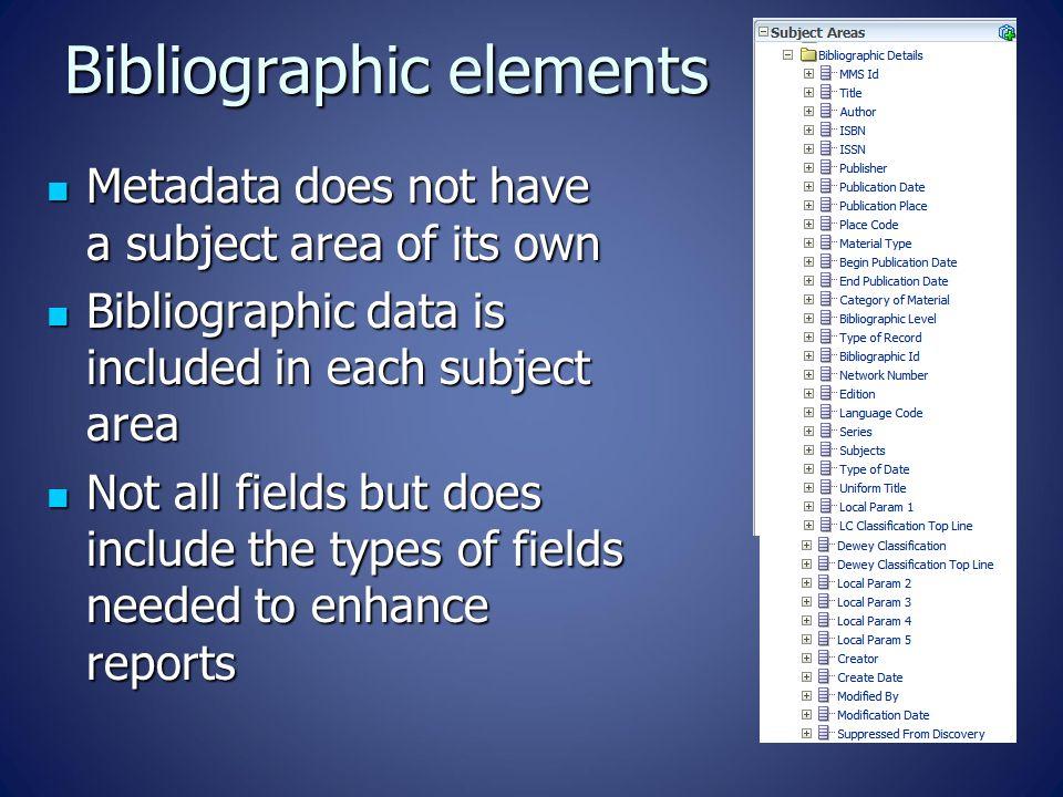 Bibliographic elements