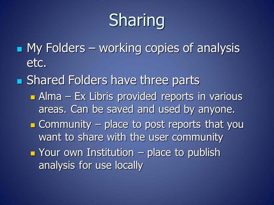 Sharing My Folders – working copies of analysis etc.