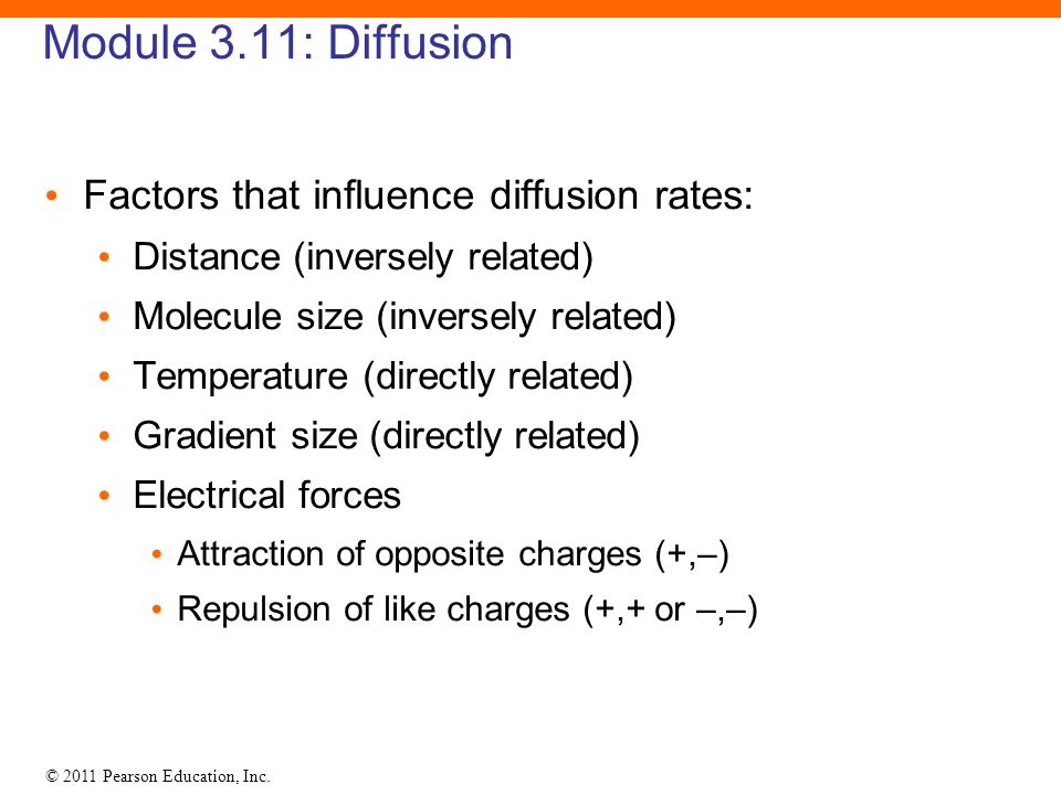 Module 3.11: Diffusion Factors that influence diffusion rates: