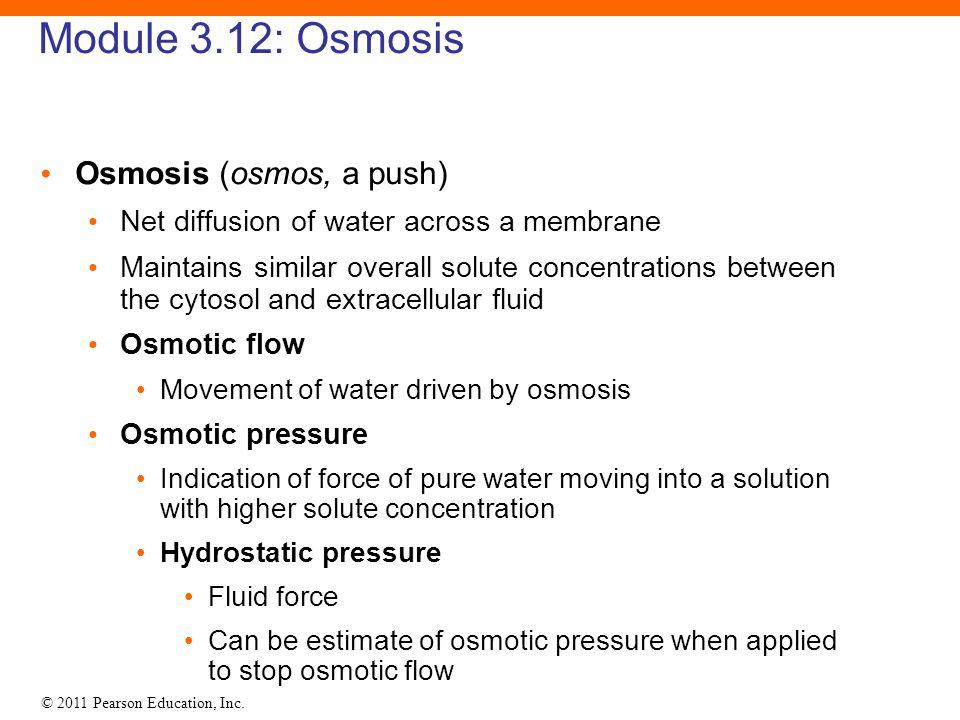 Module 3.12: Osmosis Osmosis (osmos, a push)