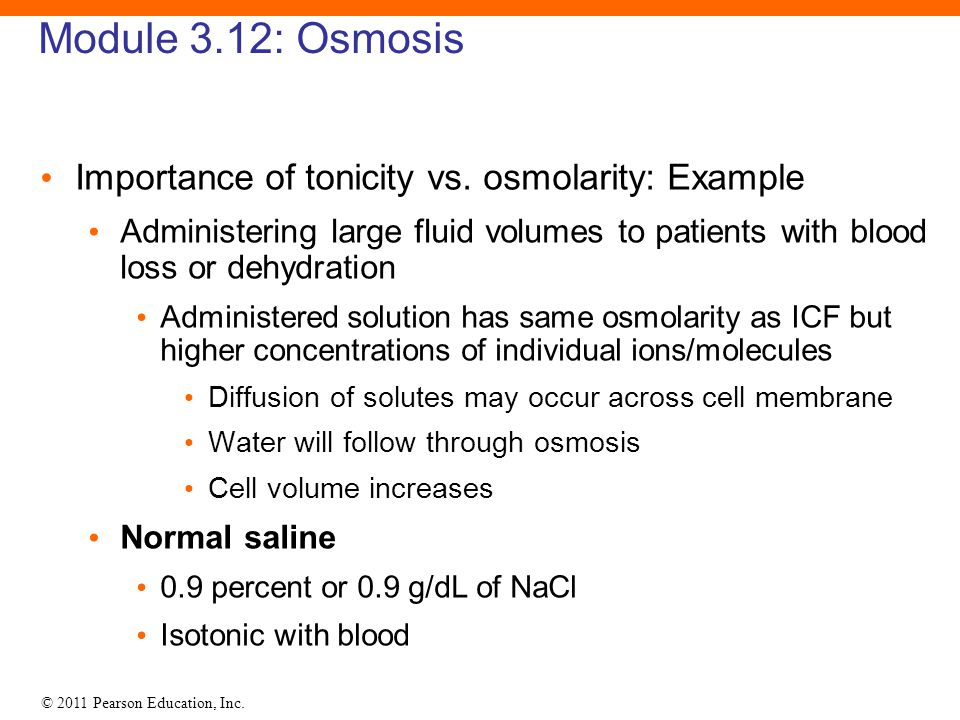 Module 3.12: Osmosis Importance of tonicity vs. osmolarity: Example
