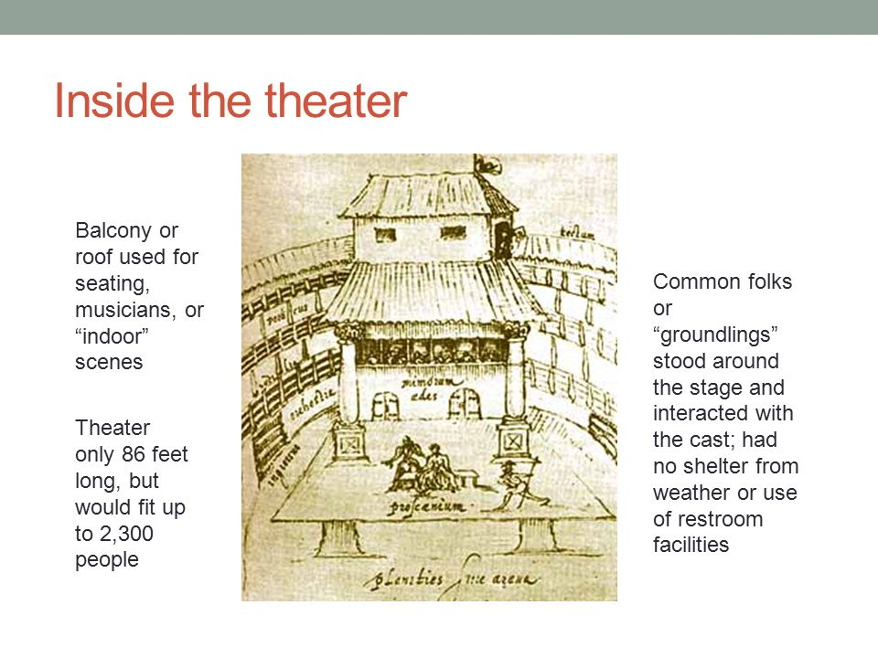 Inside the theater Balcony or roof used for seating, musicians, or indoor scenes.