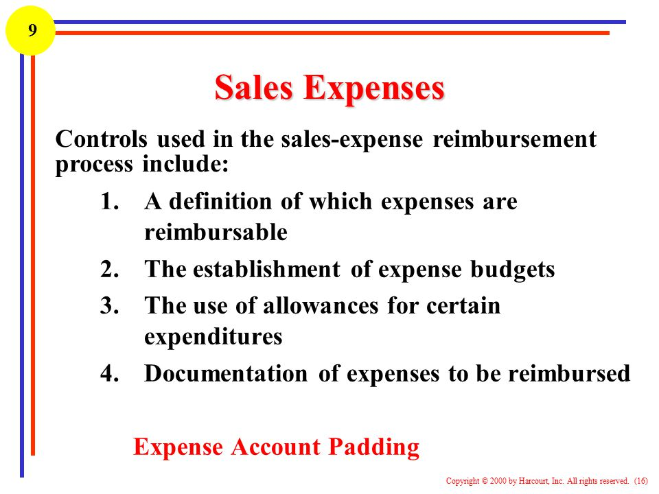 Sales Expenses Controls used in the sales-expense reimbursement
