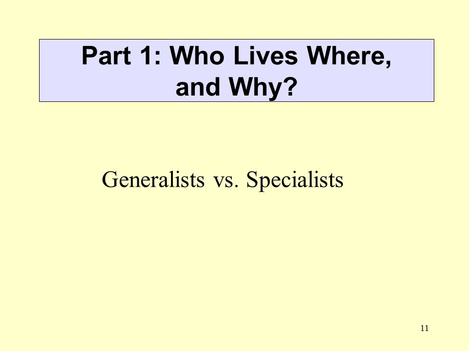 Part 1: Who Lives Where, and Why