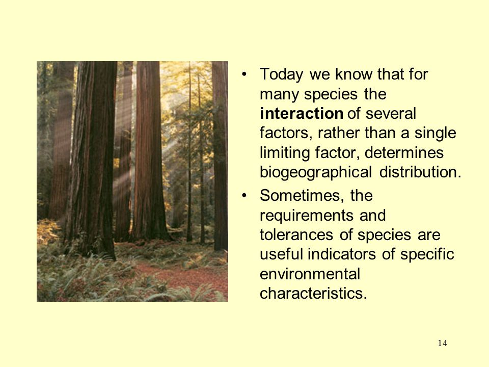 Today we know that for many species the interaction of several factors, rather than a single limiting factor, determines biogeographical distribution.