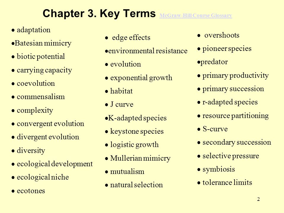 Chapter 3. Key Terms McGraw-Hill Course Glossary