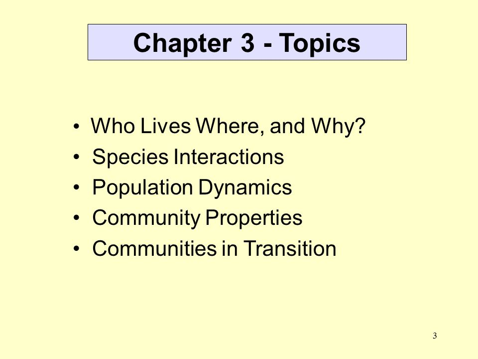 Chapter 3 - Topics Who Lives Where, and Why Species Interactions