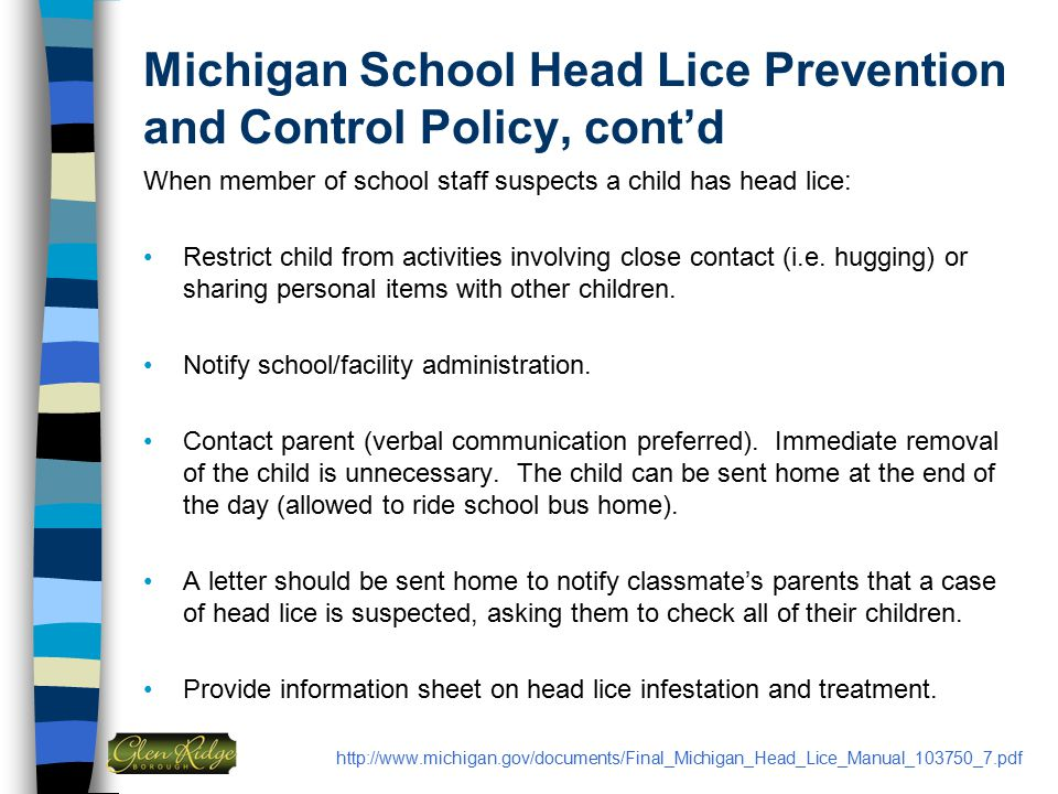 Michigan School Head Lice Prevention and Control Policy, cont'd