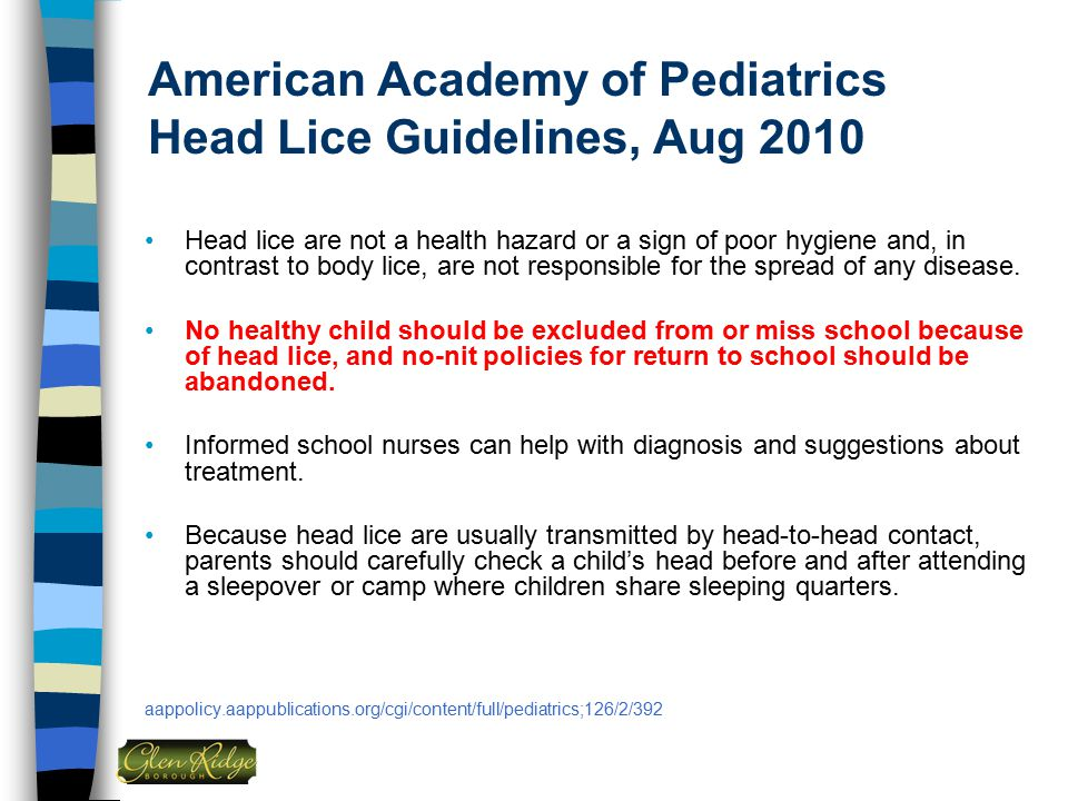 American Academy of Pediatrics Head Lice Guidelines, Aug 2010